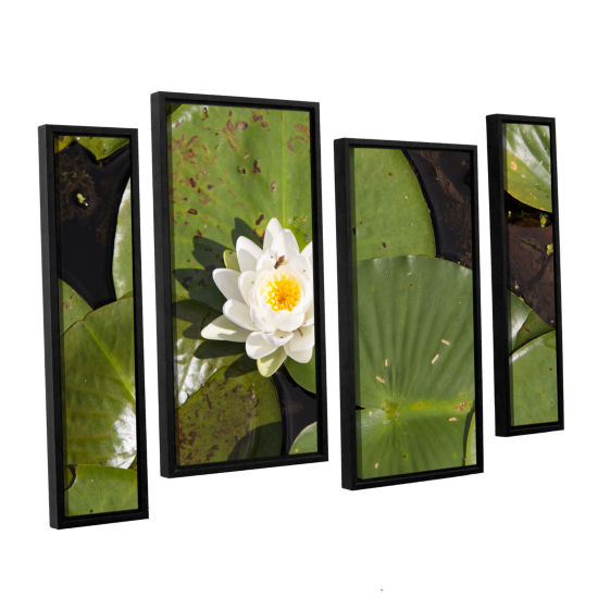 Brushstone Lily Pad 4-pc. Floater Framed Staggered Canvas Wall Art