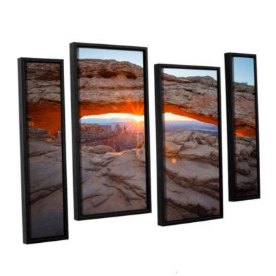 Brushstone Mesa Arch Sunburst 3 4-pc. Floater Framed Staggered Canvas Wall Art