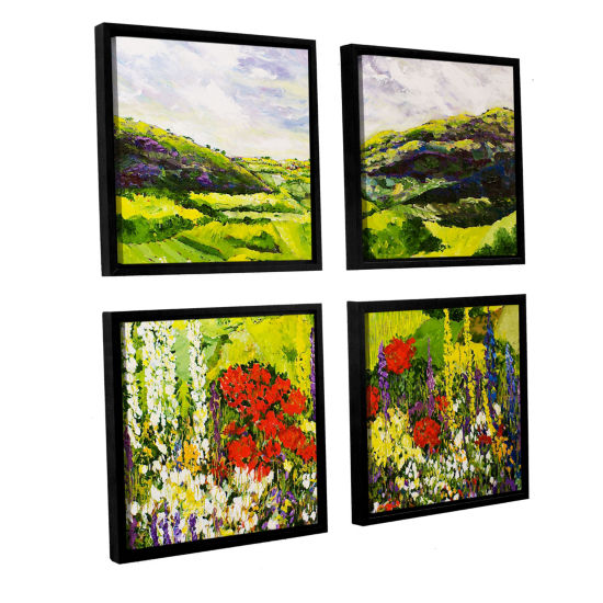 Brushstone Meadow Lark 4-pc. Square Floater Framed Canvas Wall Art
