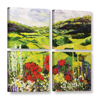 Brushstone Meadow Lark 4-pc. Square Gallery Wrapped Canvas Wall Art