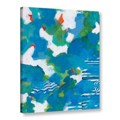 Brushstone Medium Blue Gallery Wrapped Canvas WallArt