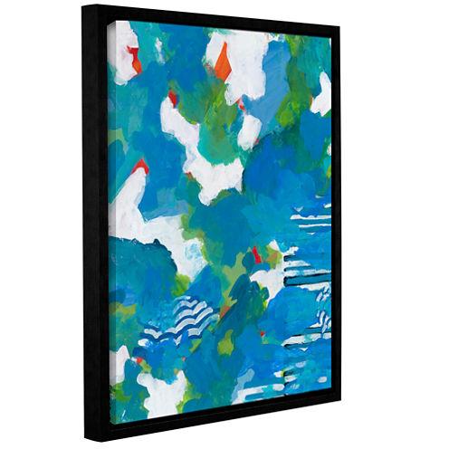 Brushstone Medium Blue Gallery Wrapped Floater-Framed Canvas Wall Art