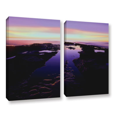 Brushstone Low Tide Afterglow 2-pc. Gallery Wrapped Canvas Wall Art