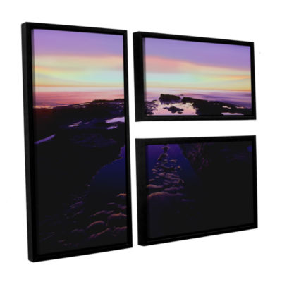 Brushstone Low Tide Afterglow 3-pc. Flag Floater Framed Canvas Wall Art