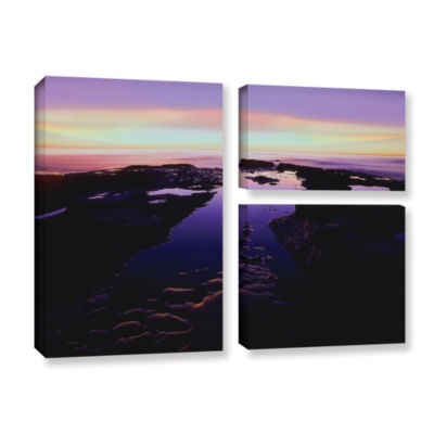 Brushstone Low Tide Afterglow 3-pc. Flag Gallery Wrapped Canvas Wall Art