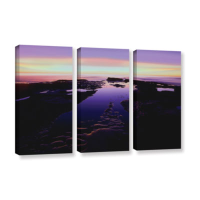 Brushstone Low Tide Afterglow 3-pc. Gallery Wrapped Canvas Wall Art