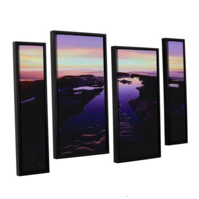 Brushstone Low Tide Afterglow 4-pc. Floater FramedStaggered Canvas Wall Art