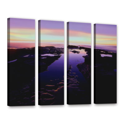Brushstone Low Tide Afterglow 4-pc. Gallery Wrapped Canvas Wall Art