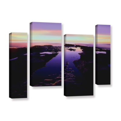 Brushstone Low Tide Afterglow 4-pc. Gallery Wrapped Staggered Canvas Wall Art