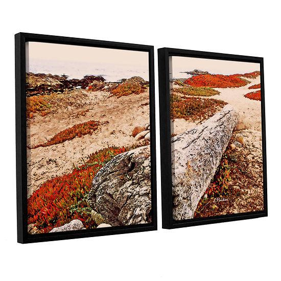 Brushstone Log On Pebble Beach 2-pc. Floater Framed Canvas Wall Art