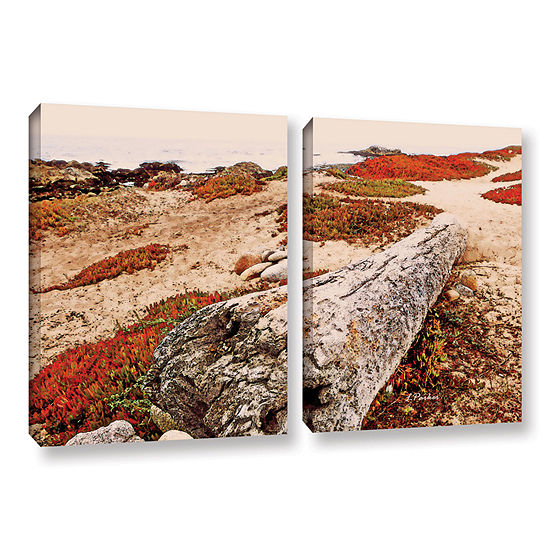 Brushstone Log On Pebble Beach 2-pc. Gallery Wrapped Canvas Wall Art