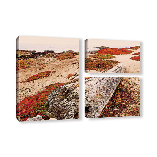 Brushstone Log On Pebble Beach 3-pc. Flag GalleryWrapped Canvas Wall Art