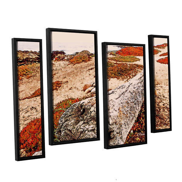 Brushstone Log On Pebble Beach 4-pc. Floater Framed Staggered Canvas Wall Art