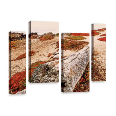 Brushstone Log On Pebble Beach 4-pc. Gallery Wrapped Staggered Canvas Wall Art