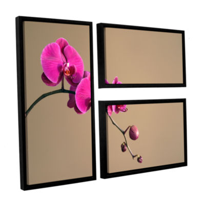 Brushstone Magenta Orchid 3-pc. Flag Floater Framed Canvas Wall Art