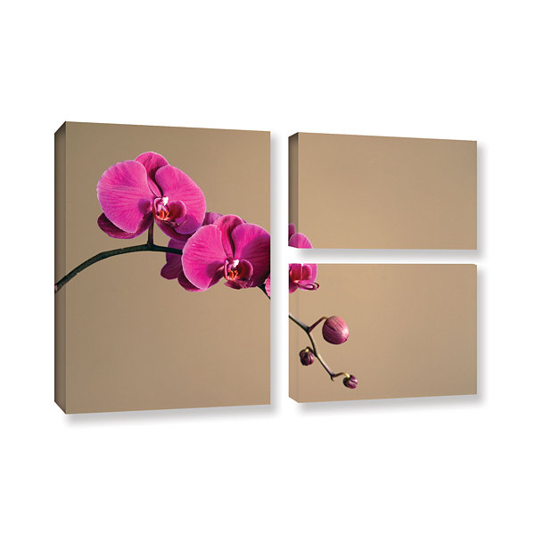 Brushstone Magenta Orchid 3-pc. Flag Gallery Wrapped Canvas Wall Art