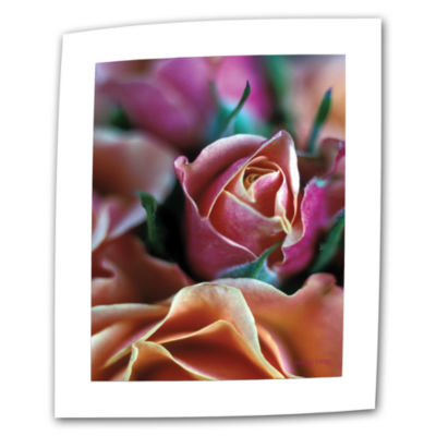 Brushstone Mauve And Peach Roses Canvas Wall Art