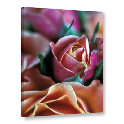 Brushstone Mauve And Peach Roses Gallery Wrapped Canvas Wall Art