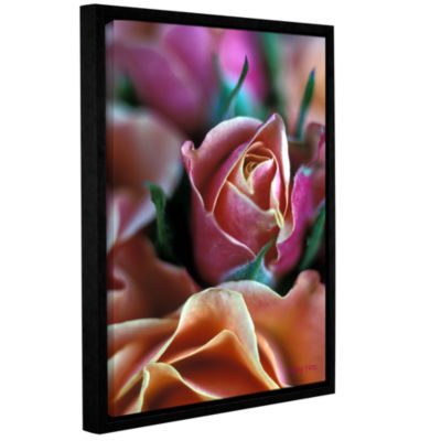 Brushstone Mauve And Peach Roses Gallery Wrapped Floater-Framed Canvas Wall Art