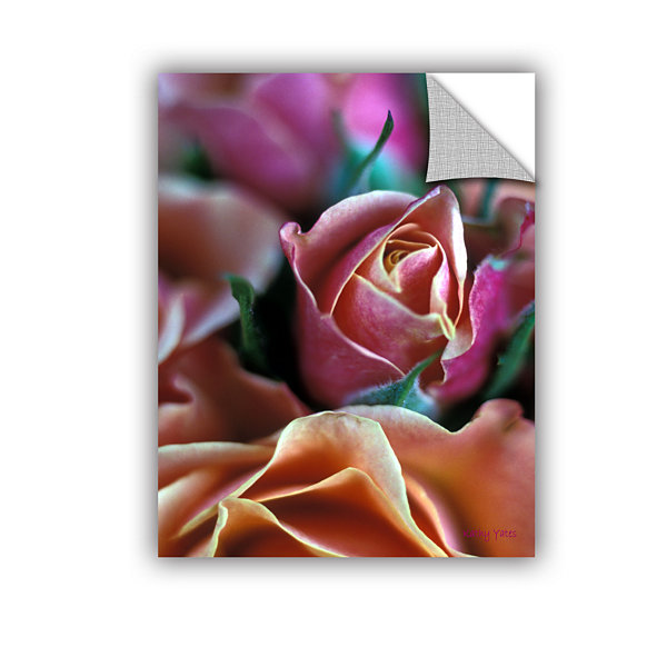 Brushstone Mauve And Peach Roses Removable Wall Decal