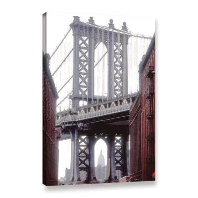 Brushstone Manhattan Bridge With Empire Gallery Wrapped Canvas Wall Art