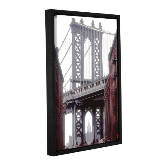Brushstone Manhattan Bridge With Empire Gallery Wrapped Floater-Framed Canvas Wall Art