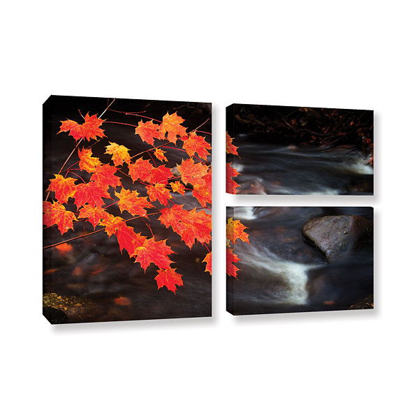 Brushstone Maple Leaves 3-pc. Flag Gallery WrappedCanvas Wall Art