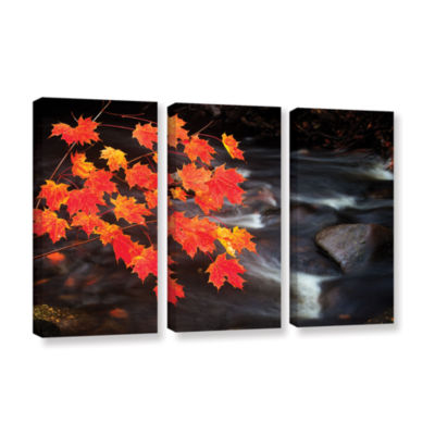 Brushstone Maple Leaves 3-pc. Gallery Wrapped Canvas Wall Art