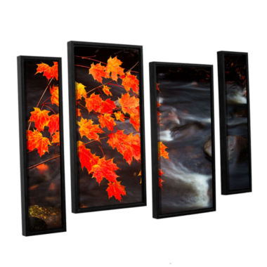 Brushstone Maple Leaves 4-pc. Floater Framed Staggered Canvas Wall Art