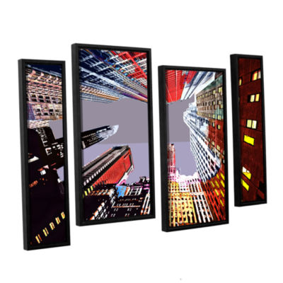 Brushstone Look Up 4-pc. Floater Framed Staggered Canvas Wall Art
