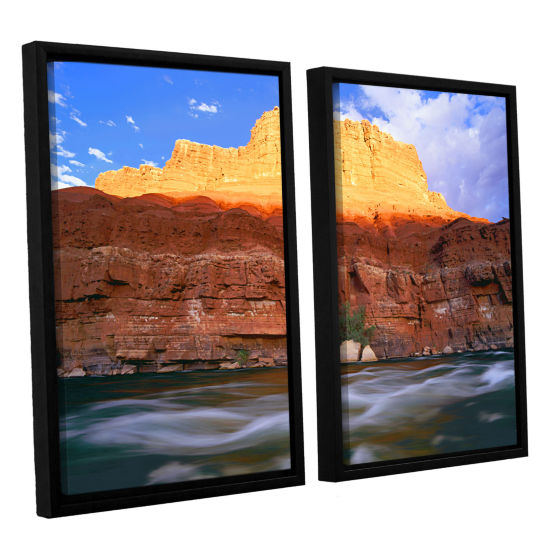 Brushstone Marble Canyon Sunset 2-pc. Floater Framed Canvas Wall Art