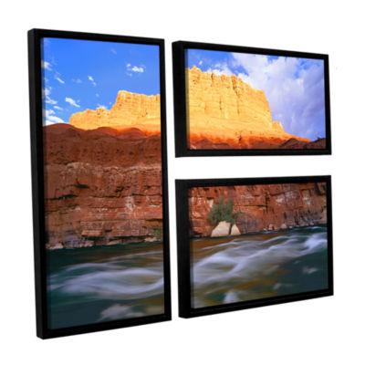 Brushstone Marble Canyon Sunset 3-pc. Flag FloaterFramed Canvas Wall Art