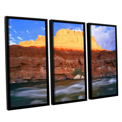 Brushstone Marble Canyon Sunset 3-pc. Floater Framed Canvas Wall Art