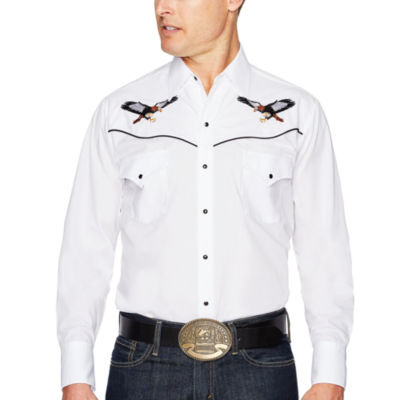 Ely Cattleman Long Sleeve Snap Front Eagle Embroidered Western Shirt