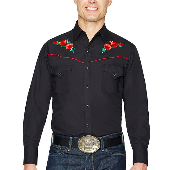 Ely Cattleman Long Sleeve Snap Front Rose Embroidered Western Shirt