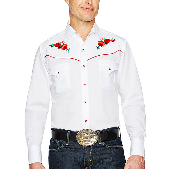 a3d81469d9 Ely Cattleman Long Sleeve Snap Front Rose Embroidered Western Shirt JCPenney