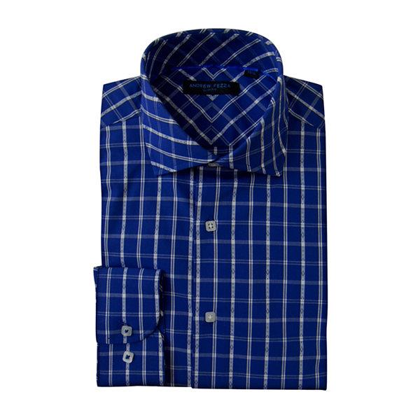 Andrew Fezza Long Sleeve Woven Plaid Dress Shirt Slim