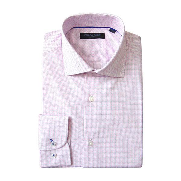 Andrew Fezza Long Sleeve Woven Checked Dress Shirt Slim