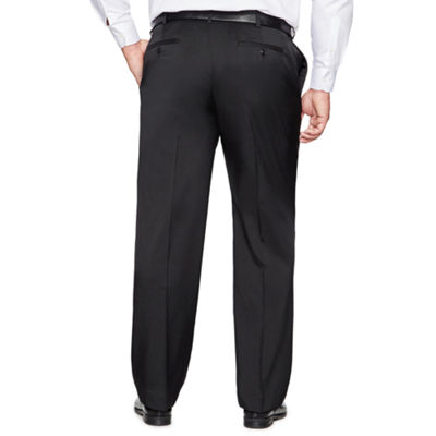 Savane Crosshatch Stretch Straight Fit Flat Front Pants-Big and Tall