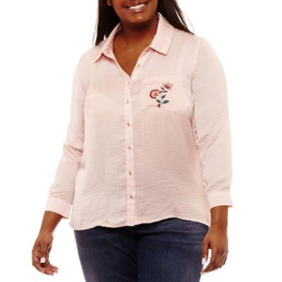 Self Esteem Long Sleeve Collar Neck Satin Embroidered Blouse-Juniors Plus