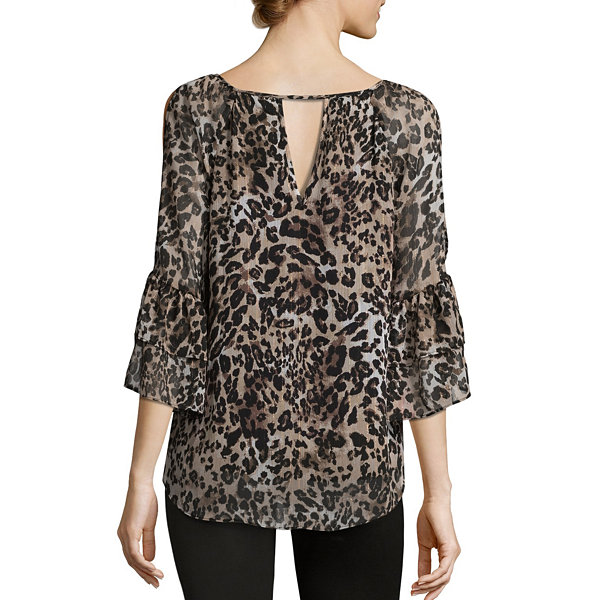 by&by 3/4 Sleeve Round Neck Chiffon Lined Ruffled Blouse-Juniors