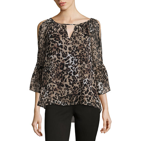 by&by 3/4 Sleeve Round Neck Chiffon Animal Blouse-Juniors