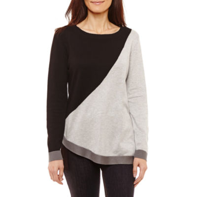 Liz Claiborne Long Sleeve Crew Neck Abstract Pullover Sweater-Petites