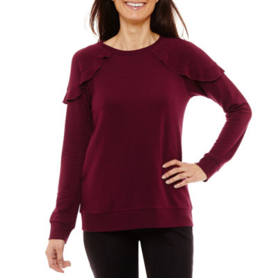 Liz Claiborne Long Sleeve Sweatshirt-Petites