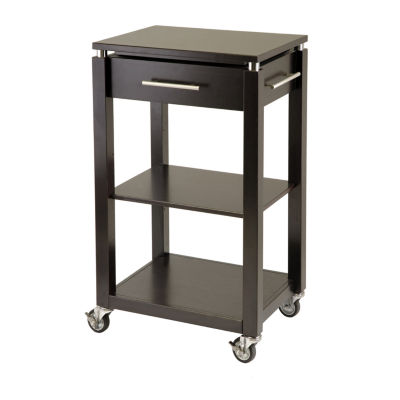 Winsome Linea Kitchen Cart with Chrome Accent