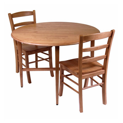Winsome Hannah 3pc Dining Set -  Drop Leaf Table with 2 Ladder Back Chairs