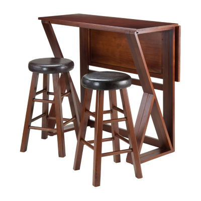 Winsome Harrington 3-Pc Drop Leaf High Table -  2 Cushion Round Seat Stools