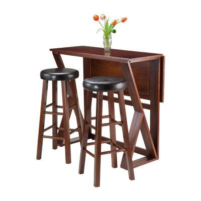 Winsome Harrington 3-Pc Drop Leaf High Table -  2 Cushion Round Seat Stools