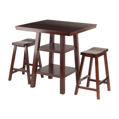 Winsome Orlando 3-Pc Set High Table -  2 Shelves w2 Saddle Seat Stools