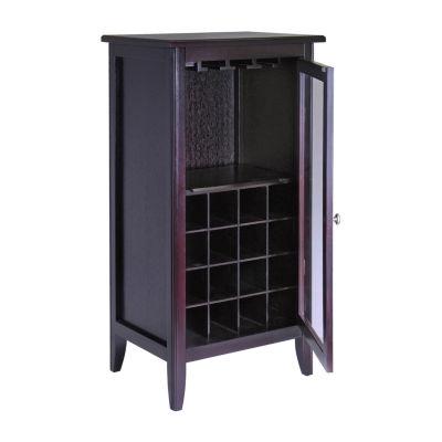 Winsome Ryan Wine Cabinet 16-Bottle -  Glass Rack-  One Door